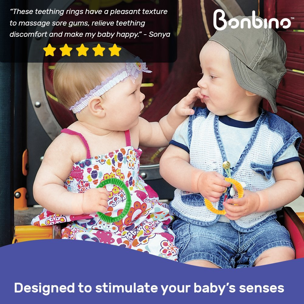 Teether Rings - (4 Pack) Silicone Sensory Teething Rings - Fun, Colorful and BPA-Free Teething Toys - Soothing Pain Relief and Drool Proof Teether Ring (Unisex) by Bonbino (Image #1)