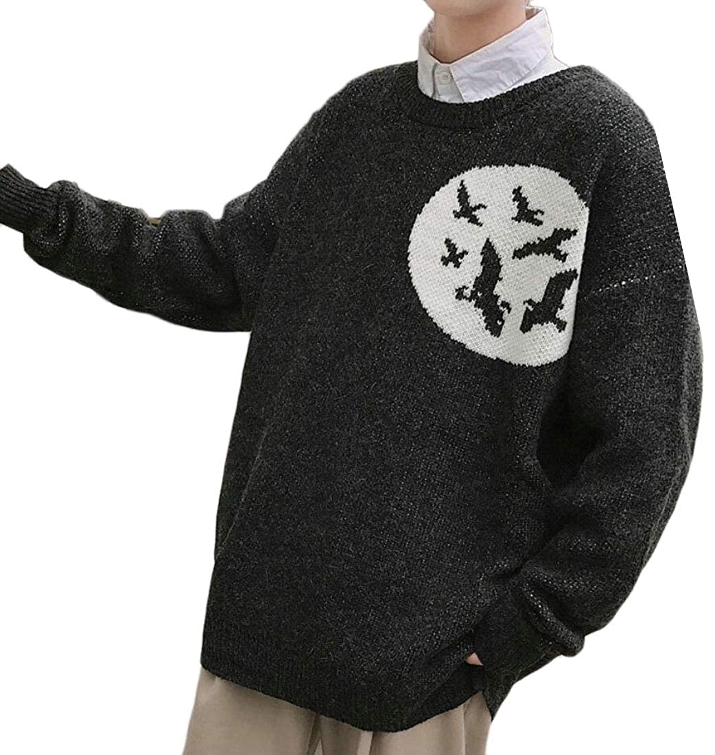 YIhujiuben Mens Crewneck Long Sleeve Loose Knitted Pullover Fall Casual Sweaters