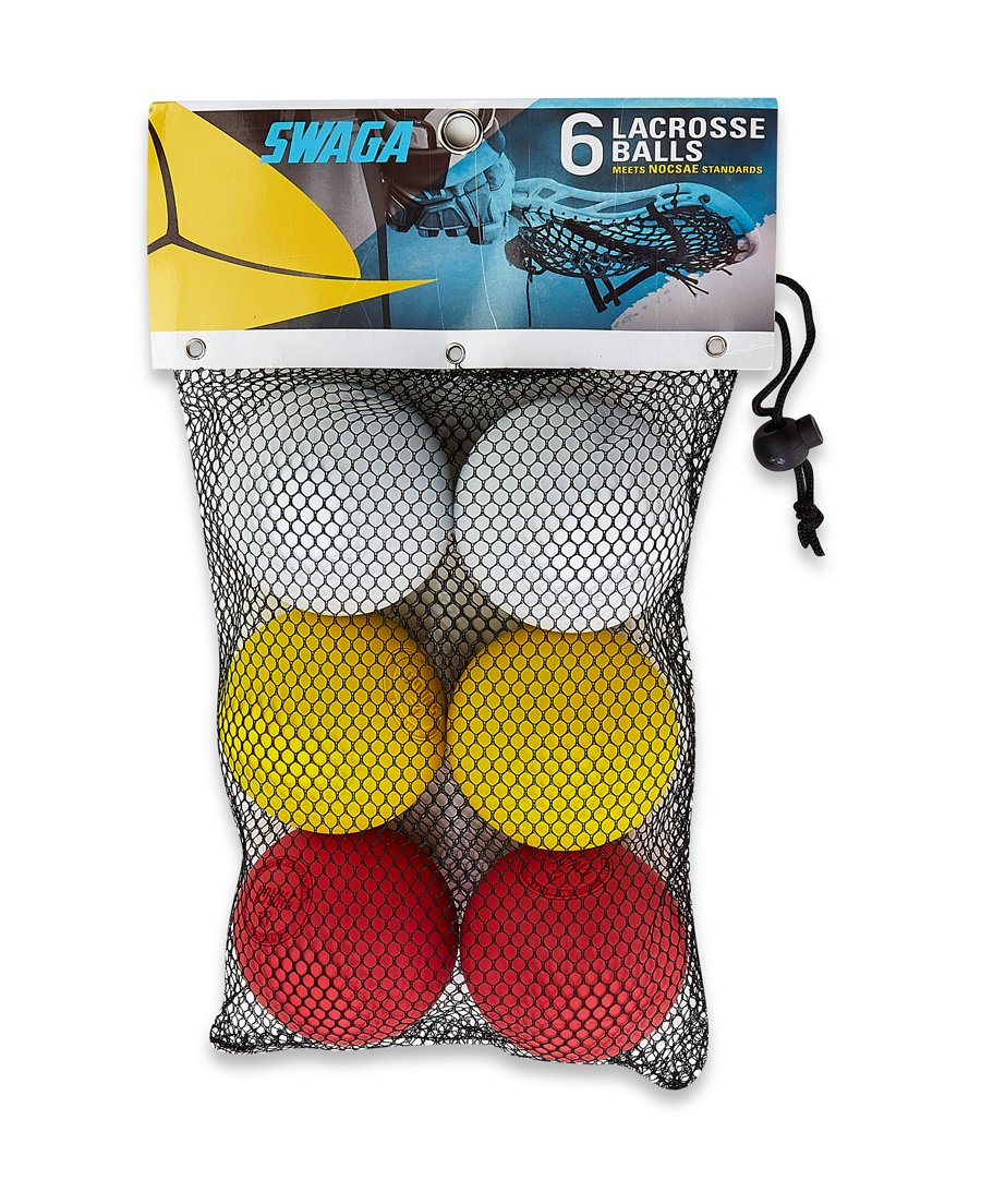 SWAGA - MULTI-COLORED 100% RUBBER - Lacrosse Balls NOCSAE - NCAA- NFHS OFFICIAL CERTIFIED - 6 LACROSSE BALLS (Red Yellow & White, ) WITH CARRY BAG by SWAGA (Image #1)