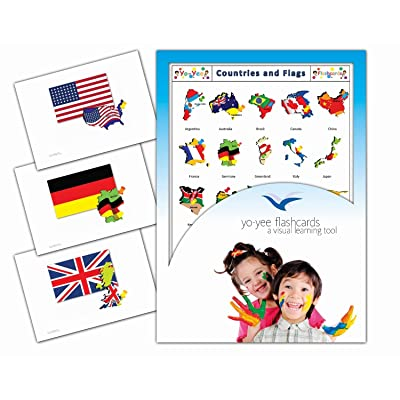 Yo-Yee Flashcards - Continents, Countries, Capital and Flags Flash Cards - Vocabulary Picture Cards for Toddlers, Kids, Children and Adults: Toys & Games