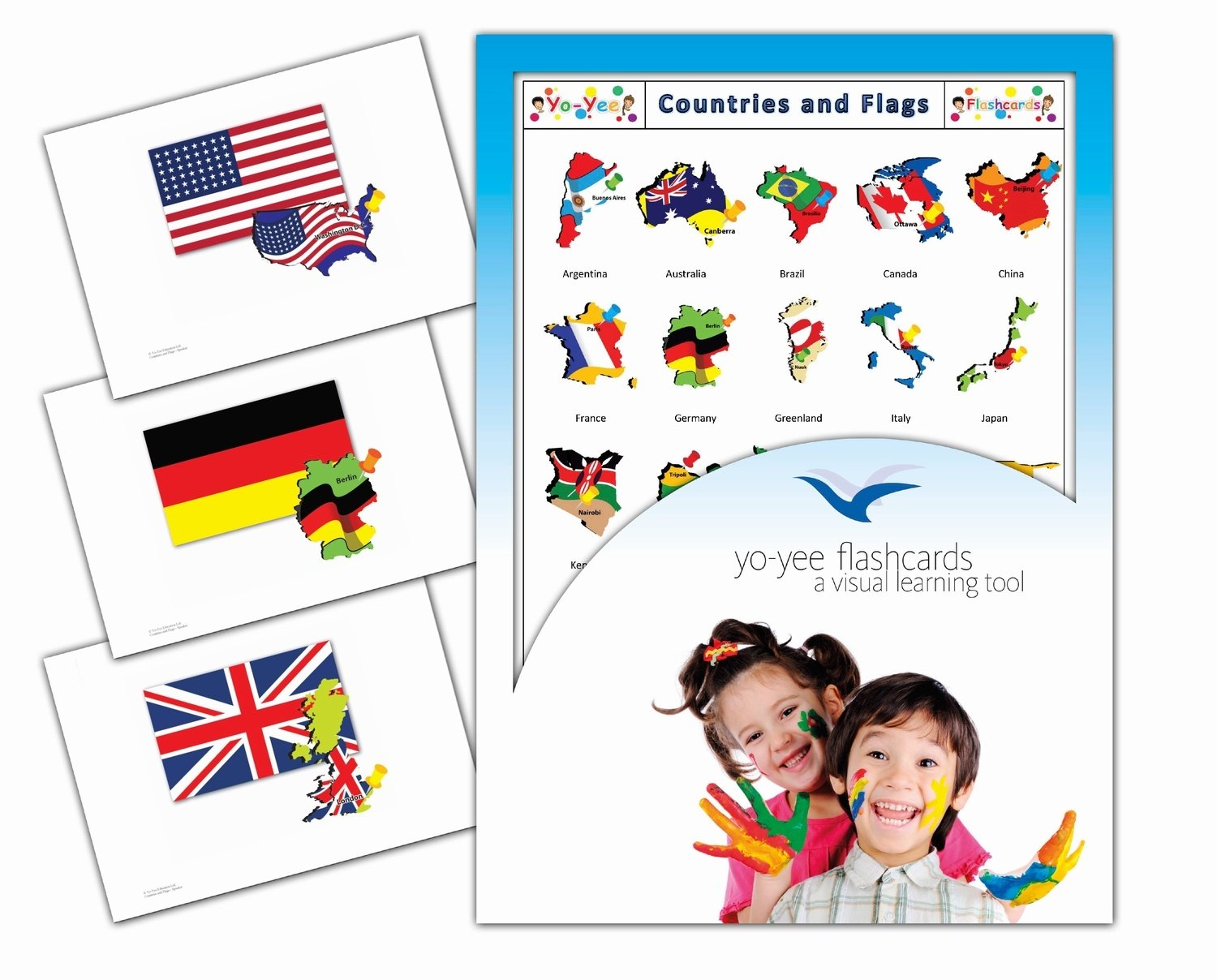Yo-Yee Flashcards - Continents, Countries and Flags Flash Cards - Vocabulary Picture Cards for Toddlers, Kids, Children and Adults