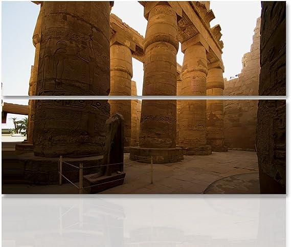 feeby Frames, cuadro pared – 2 partes – forma rectangular, cuadro Déco, cuadro, impreso cuadro Deco Panel, columnas, Estatua, Egipto, murales, símbolos, Monumentos, marrón: Amazon.es: Hogar
