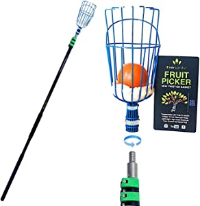 EVERSPROUT 25-Foot Fruit Picker (30+ Foot Reach) | Preassembled, Easy-to-Attach Twist On Basket Design | Heavy-Duty, High-Grade Aluminum Extension Pole | Fruit Carrying Bag