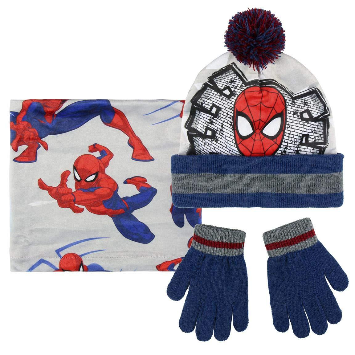 Cerdá Boy's Conjunto 3 Piezas Spiderman Scarf, Hat and Glove Set, Grey (Gris 001), One Size (Manufacturer Size: Única) 2200003203