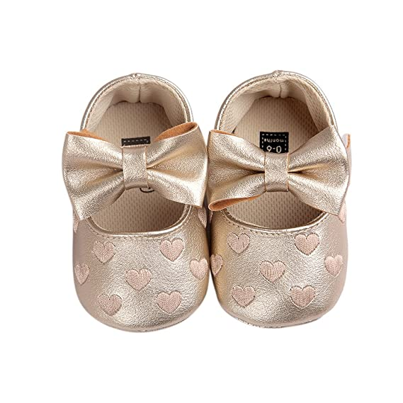 ea073b11e635 FairOnly Baby Girls Heart Pattern Bow Soft Sole Non-Slip Shoes PU Leather  Infant Princess