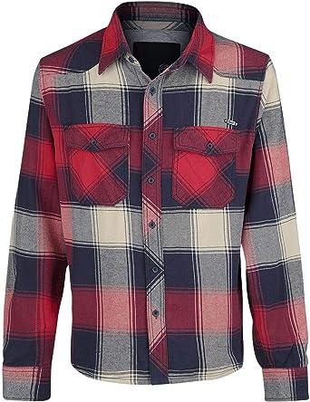 Brandit Camisa a Cuadros Hombre Camisa de Franela Rojo/Antracita/Beige, Labelpatch Regular: Amazon.es: Ropa y accesorios