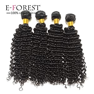 E-forest hair Virgin Brazilian Kinky Curly Human Hair Extension Unprocessed for black women,Pack of Three, 100g/Bundle, 7A Natural Color Weave Weft( 24 24 24 )