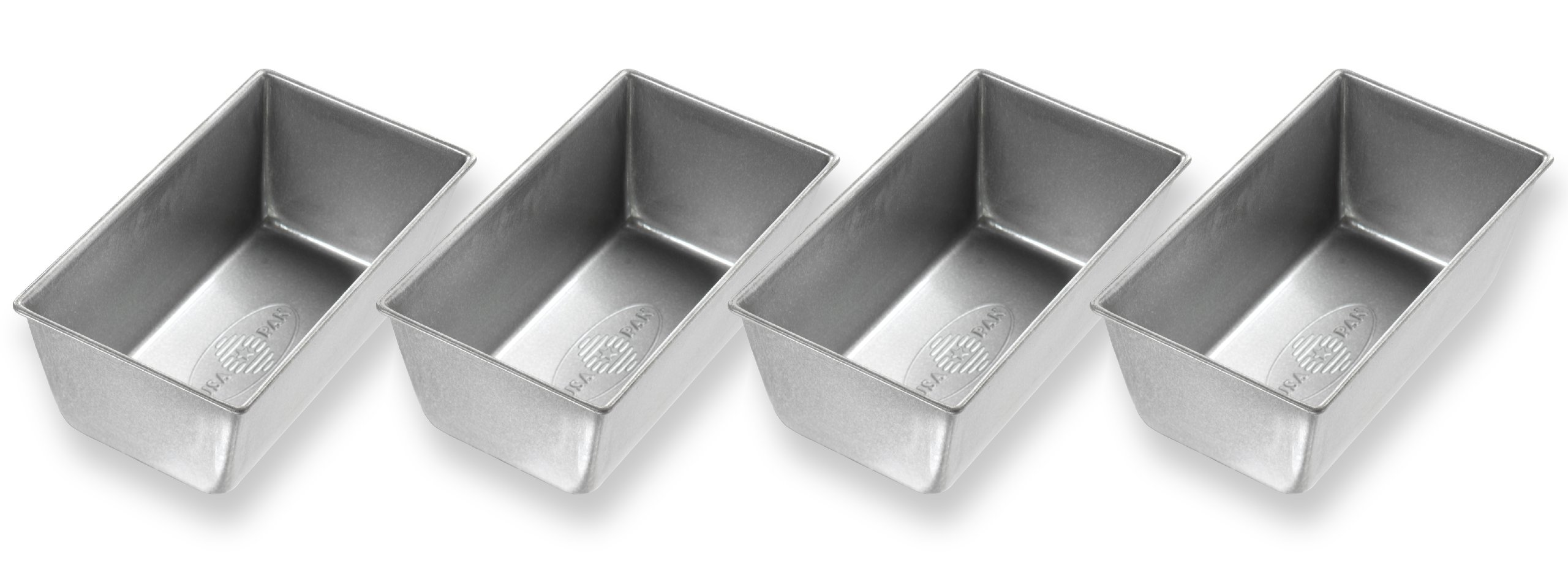 USA Pan Bakeware Mini Loaf Pan, Set of 4, Nonstick & Quick Release Coating, Made in the USA from Aluminized Steel