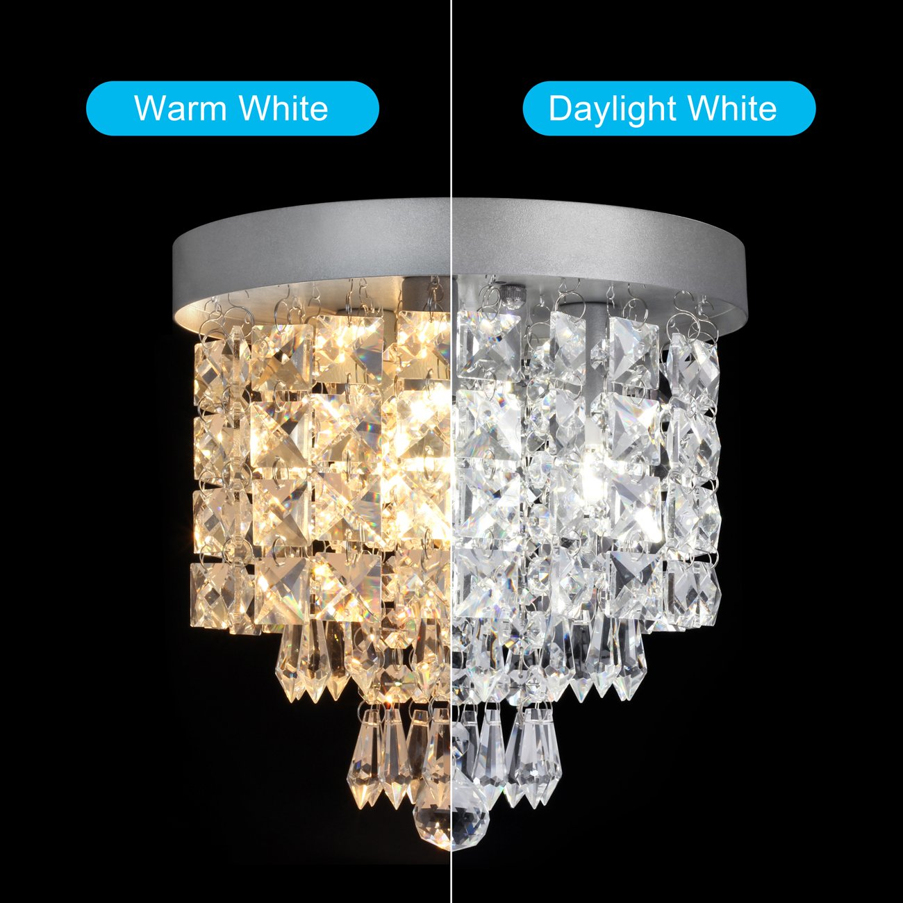 SHINE HAI Crystal Chandelier, 3-light Modern Flush Mount Ceiling Pendant Light H9.45'' X W8.66'' for Bedroom, Living Room, Dining Room, Kitchen, Hallway by SHINE HAI (Image #3)