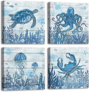 Ocean Decor Wall Art Marine Life Modern Canvas Artwork Indigo Turtle Contemporary Canvas Picture for Bedroom Bathroom Living Room Kitchen Office Home Decor Framed Ready to Hang 12