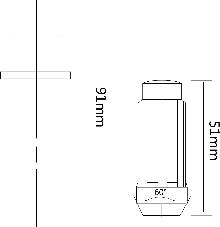 ZY Wheel 14mm x 1.5 Thread Size 51mm Long Set of 24pcs Small Diameter 7 Spline Drive Black Lug Nuts Closed End with 2 Keys: Industrial & Scientific