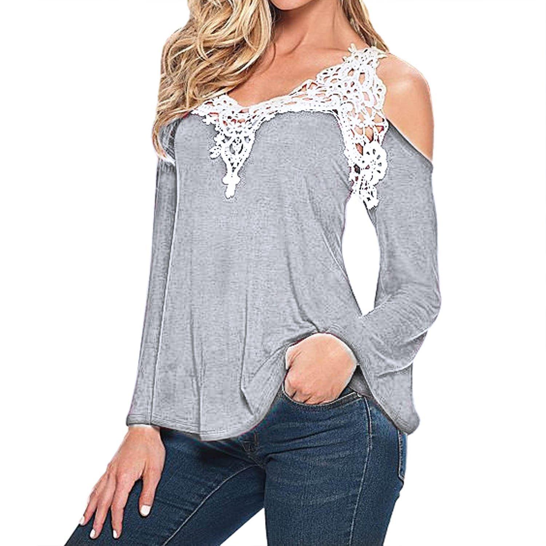 SUNNOW® Sexy Damen T-Shirt V-Ausschnitt Spitze Stückeln Schulterfrei Frauen Blusen Langarmshirt Herbst Frühling