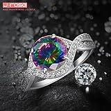 LeoBon Engagement Rings for Women Rainbow Topaz