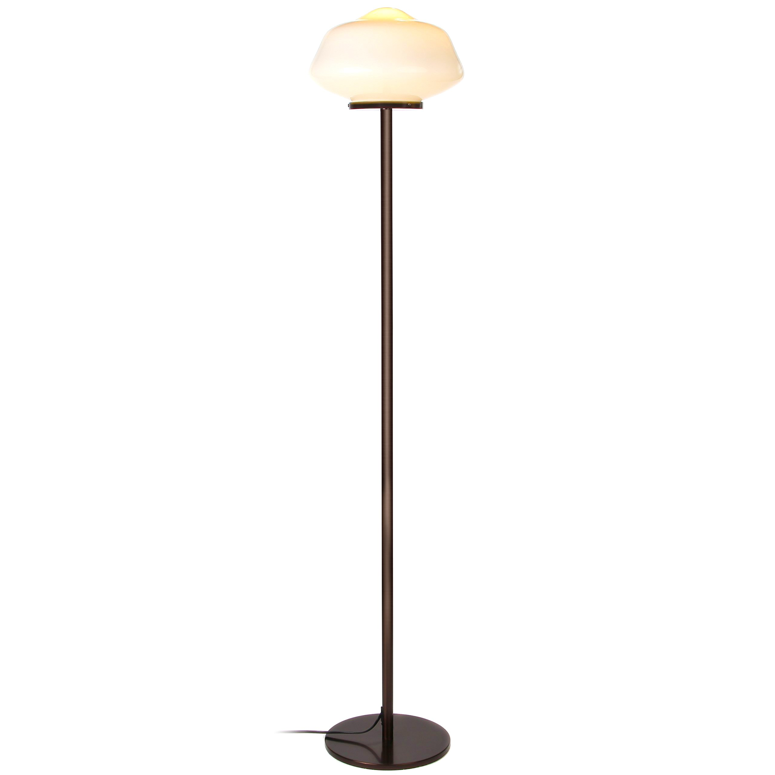 Brightech Aiden LED Floor Lamp– Contemporary Modern Frosted Glass Globe Lamp- Tall Pole Standing Uplight Lamp for Living Room, Den Office or Bedroom- Energy Efficient Bulb Included - Bronze