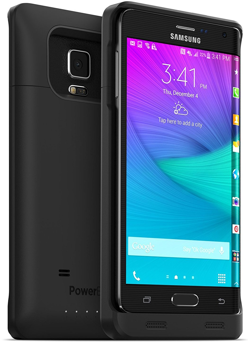 PowerBear Samsung Galaxy Note Edge Battery Case [4000mAh] High Capacity External Battery Charger for Note Edge (Up to 130% Extra Battery) - Black [24 Month Warranty & Screen Protector Included]