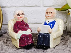 Ebros Grow Old Together Grandpa and Grandma Favorite Pastime on Comfy Sofa Chairs Ceramic Magnetic Salt Pepper Shakers Set Figurines As Gifts Decors for Retired Couples Grandparents Parents Novelty