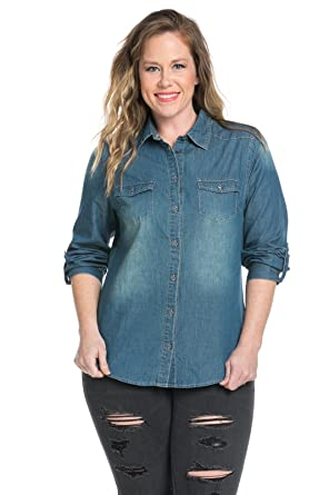 71k%2B4G%2BHZVL._UY445_ noble u chambray button down denim shirt with roll up sleeves at,Noble U Womens Clothing