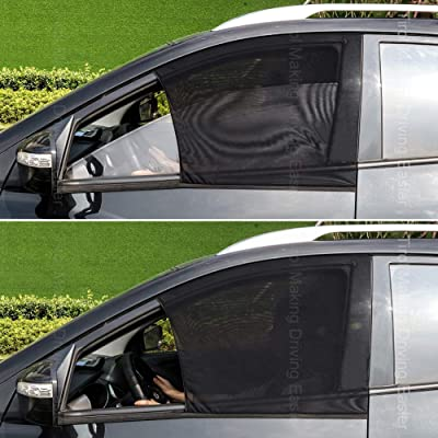 Tirol Front Side Window Sunshades 2 Pack Universal Car Front Sun Visor Protector Mesh Fabric Sun Shade for SUV Sedans Car Interior Accessories: Automotive