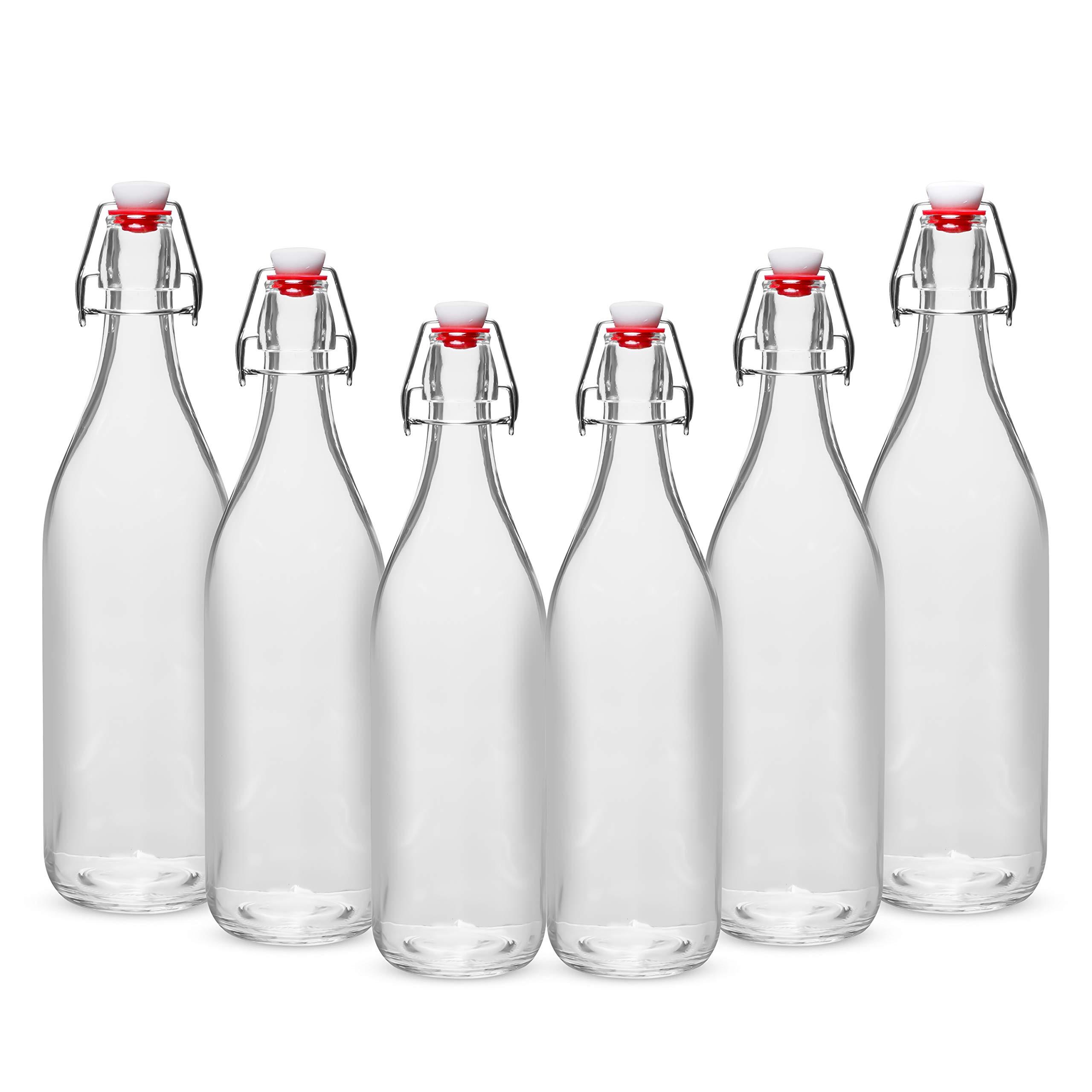 WILLDAN Giara Glass Bottle with Stopper Caps, Set of 6-33.75 Oz Swing Top Glass Bottles for Beverages, Oils, Kombucha, Kefir, Vinegar, Leak Proof Caps