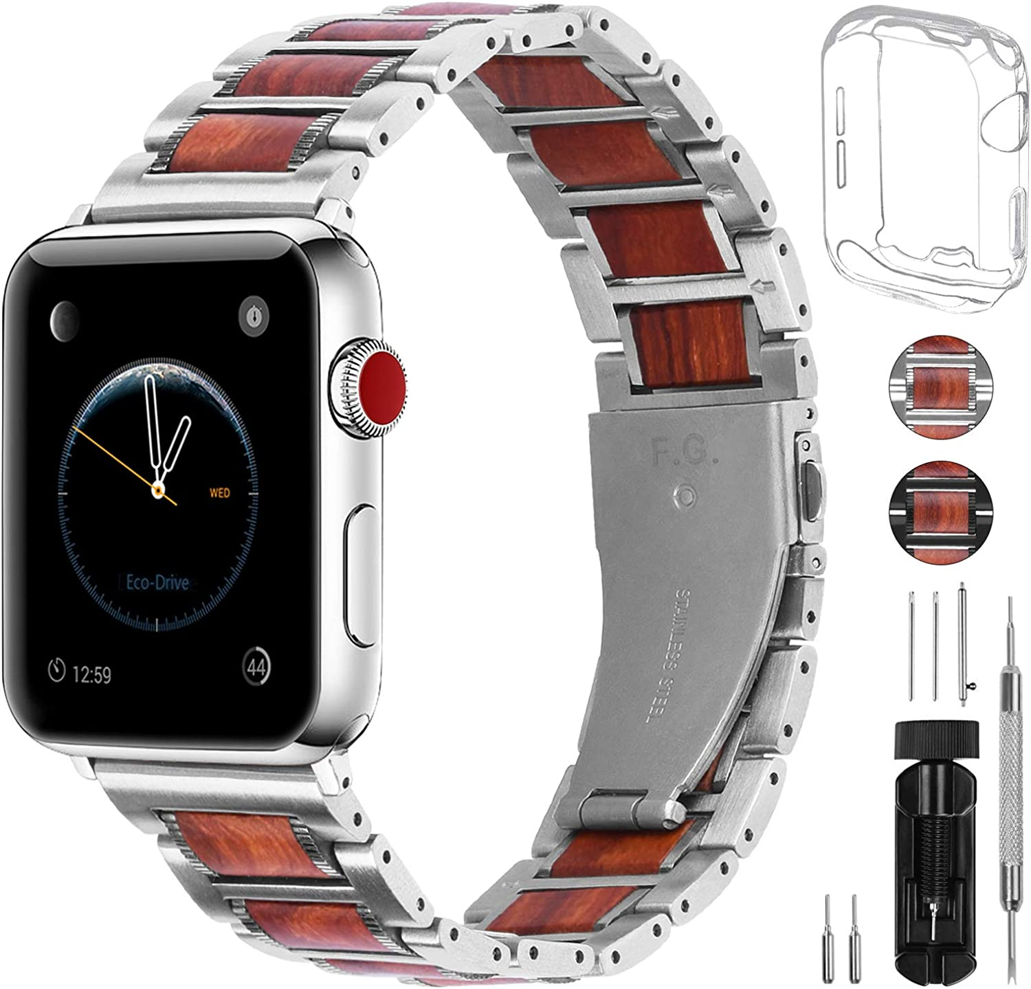 Fullmosa Apple Watch Band 38mm 42mm 40mm 44mm,2 Colors Sandal Wooden Metal Strap Compatible with iWatch Band Series SE/6/5/4/3/2/1