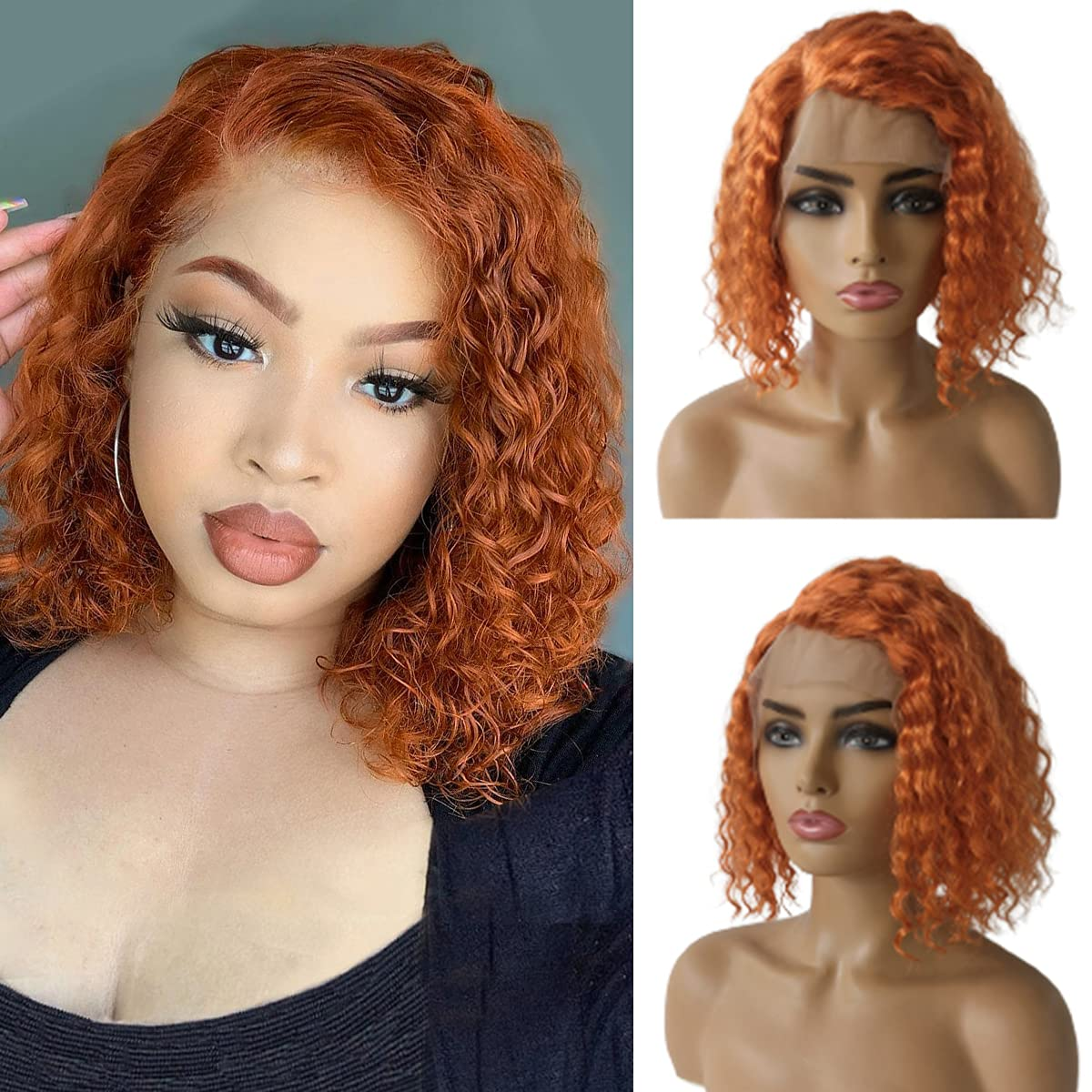 Orange Curly Human Hair Wig 13x1 Side W Wigs Part Lace Bob Max 58% OFF Direct sale of manufacturer Front
