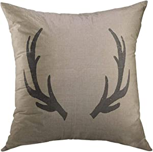 Mugod Decorative Throw Pillow Cover for Couch Sofa,Stag Black Deer Rustic Burlap Farmhouse Lodge Home Decor Pillow Case 18x18 Inch