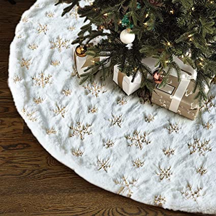 Christmas Tree Skirt - 48 inches Large White Luxury Faux Fur Tree Skirt Christmas Decorations Holiday Thick Plush Tree Xmas Ornaments (White/Gold) best Christmas tree skirt