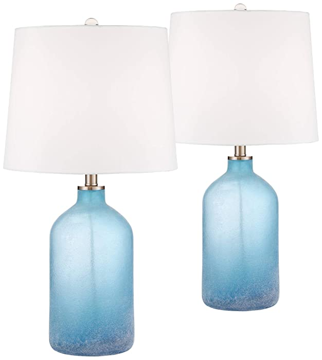 Aston Coastal Table Lamps Set of 2 Frosted Sea Blue Glass White Drum Shade for Living Room Family Bedroom Nightstand - 360 Lighting