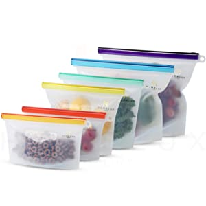 Homelux Theory Reusable Silicone Food Storage Bags | Sandwich, Sous Vide, Liquid, Snack, Lunch, Fruit, Freezer Airtight Seal | BEST for preserving and cooking | (2 Large + 2 Medium + 2 Small)