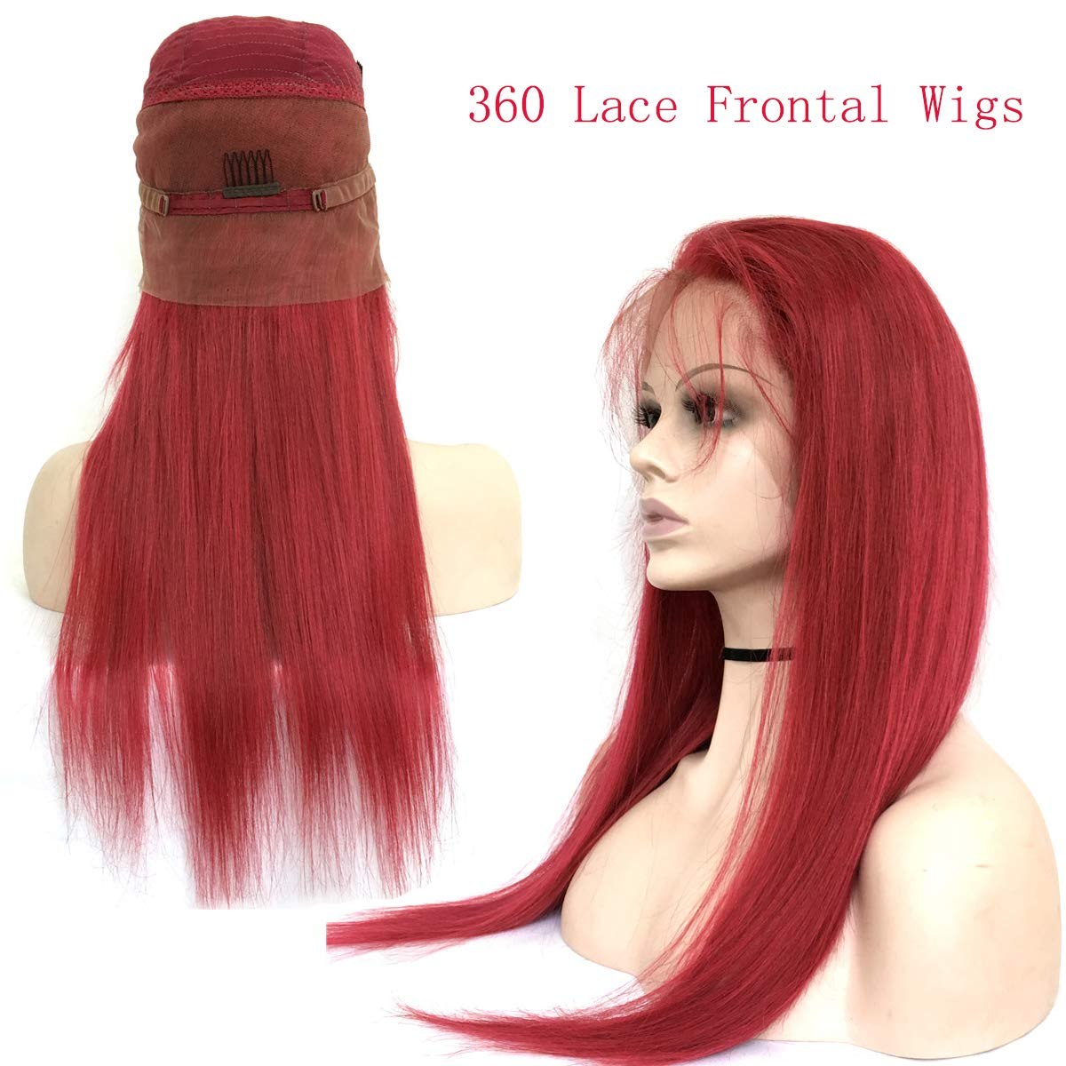 Amazon.com   Amesha Hair Straight Burg Ombre Red 360 Lace Frontal Human  Hair Wigs for Women with Baby Hair 96a77033c