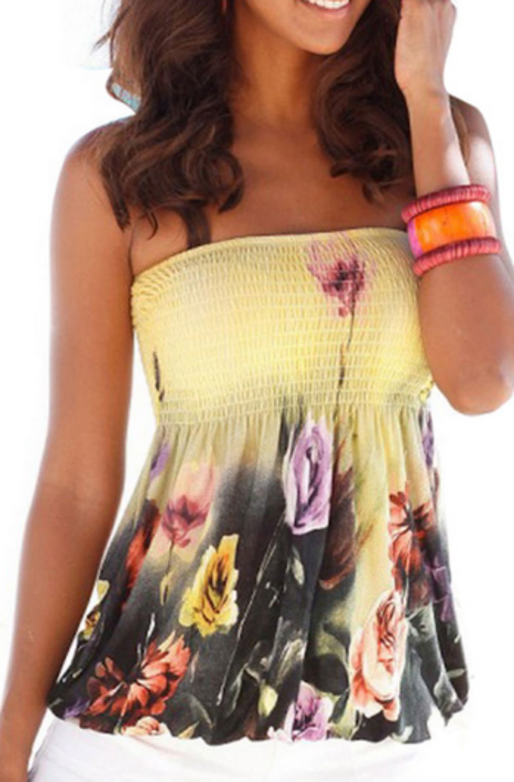 Women Sexy Floral Print Tube Bra Style Elastic Strapless Tee Shirt Tops (M, Yellow)
