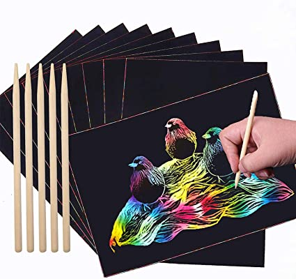 Magic Colorful Papers Black Scratch it Off Art Crafts Notes Boards with 4 Wooden Pen for Kids Holiday Birthday Gift 36 Sheets Scratch Art Rainbow Paper