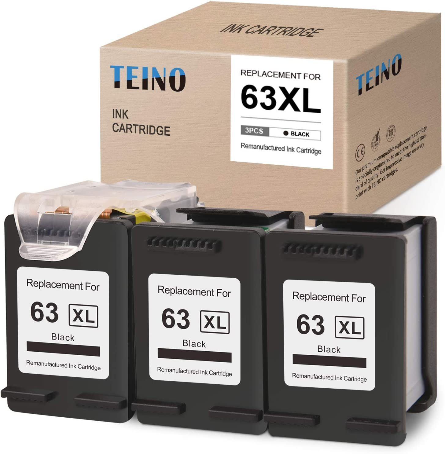 TEINO Remanufactured Ink Cartridges Replacement for HP 63 63XL 63 XL for HP OfficeJet 3830 4650 5255 5258 4655 5252 4652 5200 DeskJet 1112 1110 2130 2132 3632 3630 3631 3634 (Black, 3 Pack)