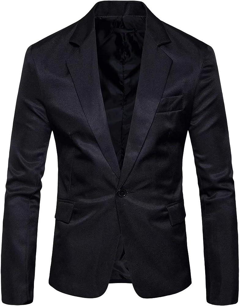 Mens Long Sleeves Peak Lapel Collar One Button Slim Fit Sport Coat Blazer