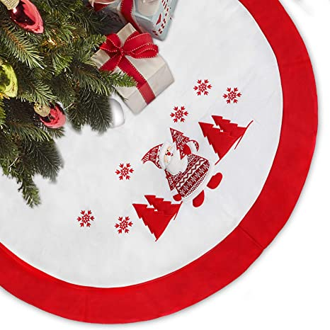 Christmas Fleece.Limbridge 48 Thick Fleece Christmas Tree Skirt With Embroidered Snowflake Knitted Santa Claus Rustic Xmas Holiday Decoration White