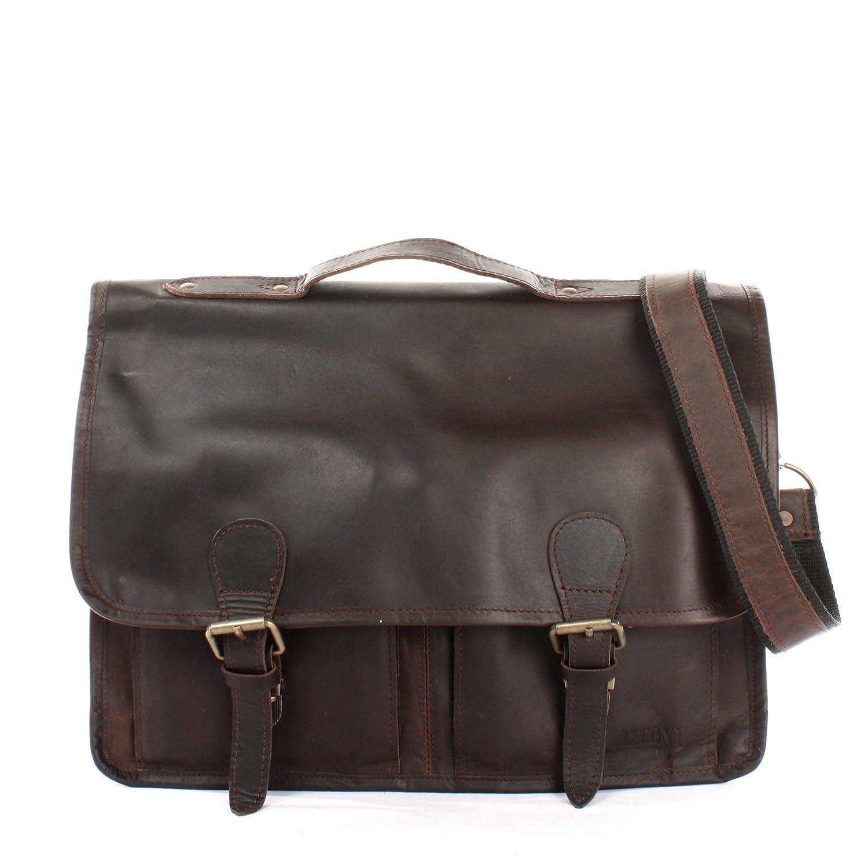 LECONI Aktentasche Businesstasche Messenger Bag für Damen + Herren Ledertasche DIN A4 Vintage-Look Collegetasche Leder 38x28x8cm LE3009