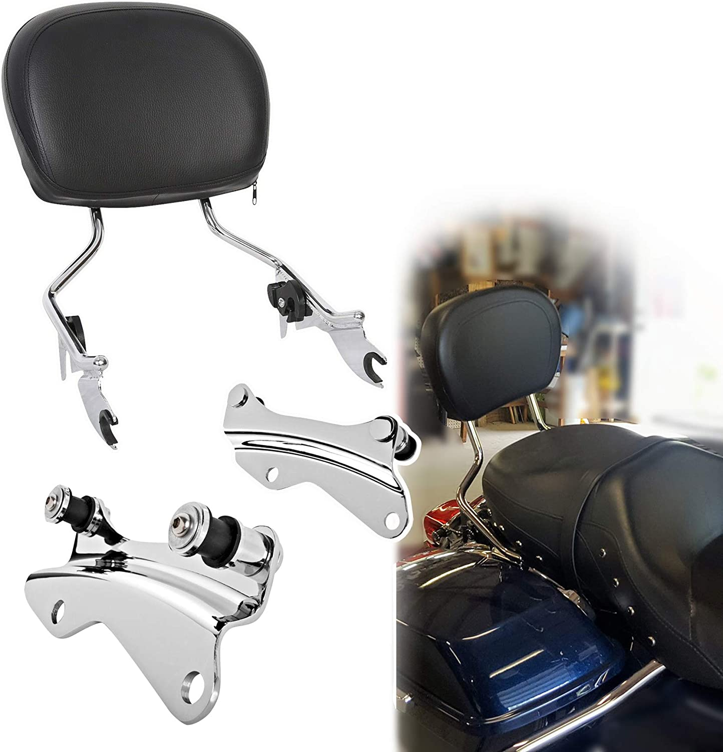 Road King FLHR CVO FLHXSE FLTRXSE Road Glide FLTRX Electra Glide FLHT FLHRXS Fits 14-20 Touring Chrome Detachables Sissy Bar Upright And 4-point Docking Hardware Kit For Street Glide FLHX