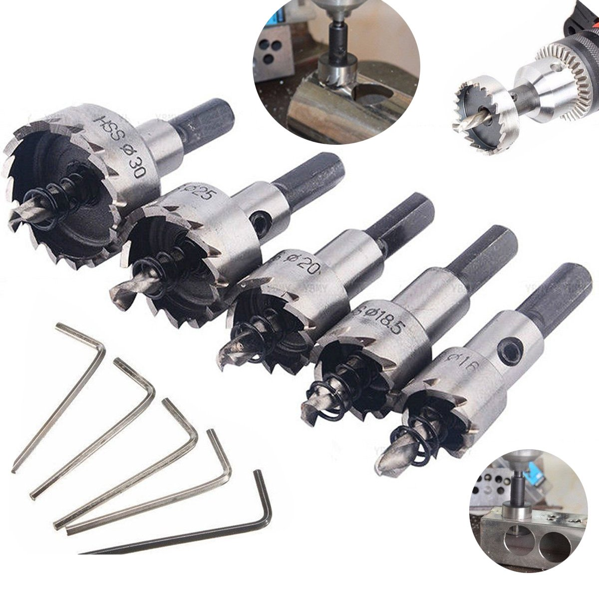 5pcs HSS Drill Bit Hole Saw Tooth Set Wood Alloy Cutter 16-30mm With Wrench UK