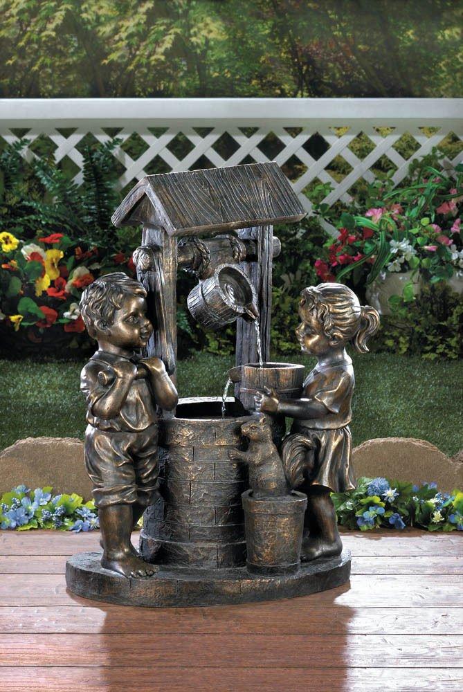 GHP Outdoor Two Children Wishing Well Water Fountain Garden/Yard Decoration