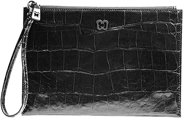 New Women's Stylish Mini Croc Textured Zip Closure Top Handle Clutch Bag