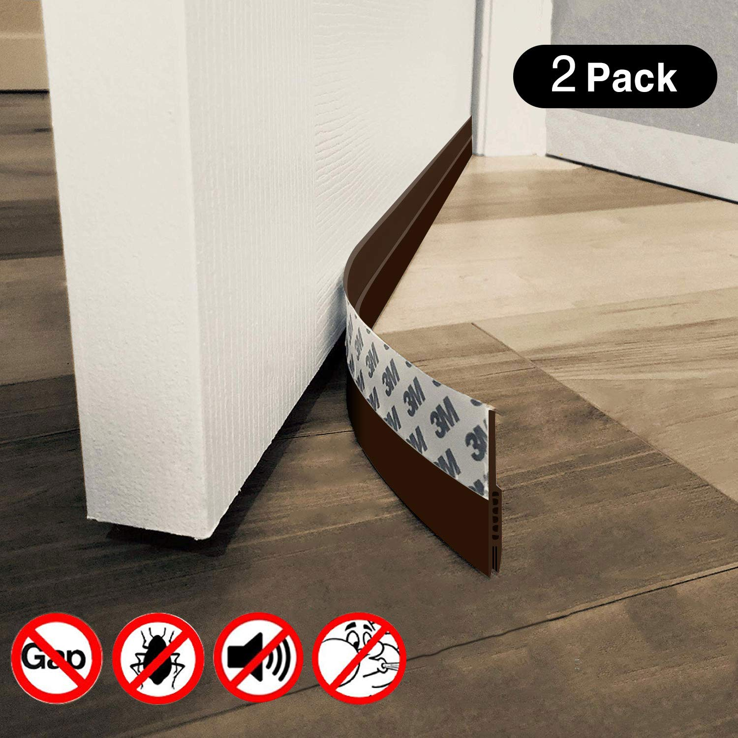 Door Draft Stopper and Blocker 2' X 39' with High Performance Silicone and 3M Strip for Soundproof, Energy Saver, and Insect Prevention, 2 Pack, Brown ProcellaTech