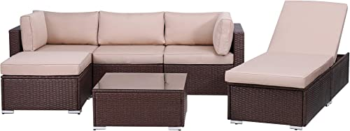 Green4ever Outdoor Patio 6 Pieces Furniture Set All Weather Sectional PE Wicker Sofa Conversation Set