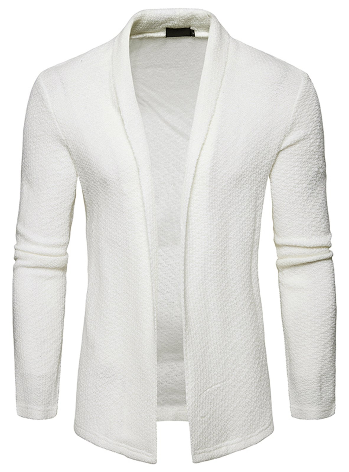 WHATLEES Mens Casual Long Sleeve Open Front Slim Fit Shawl Collar Cardigans Sweater B938-White-XL by WHATLEES