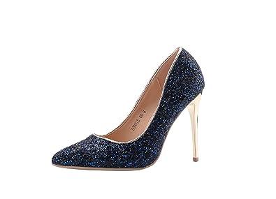 69e2f372267f Mila Lady (BONNIE09 Women Fashion Embellished Sparkles Contrast Color  Pointed Toe Pumps High Heel Stilettos