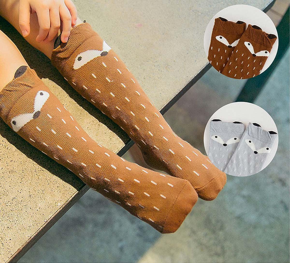 0-6 anni Aisprts calzini antiscivolo bambino Calzettoni al Ginocchio Antiscivolo in Cotone per Bambini e Neonati Confezione da 2 Paia