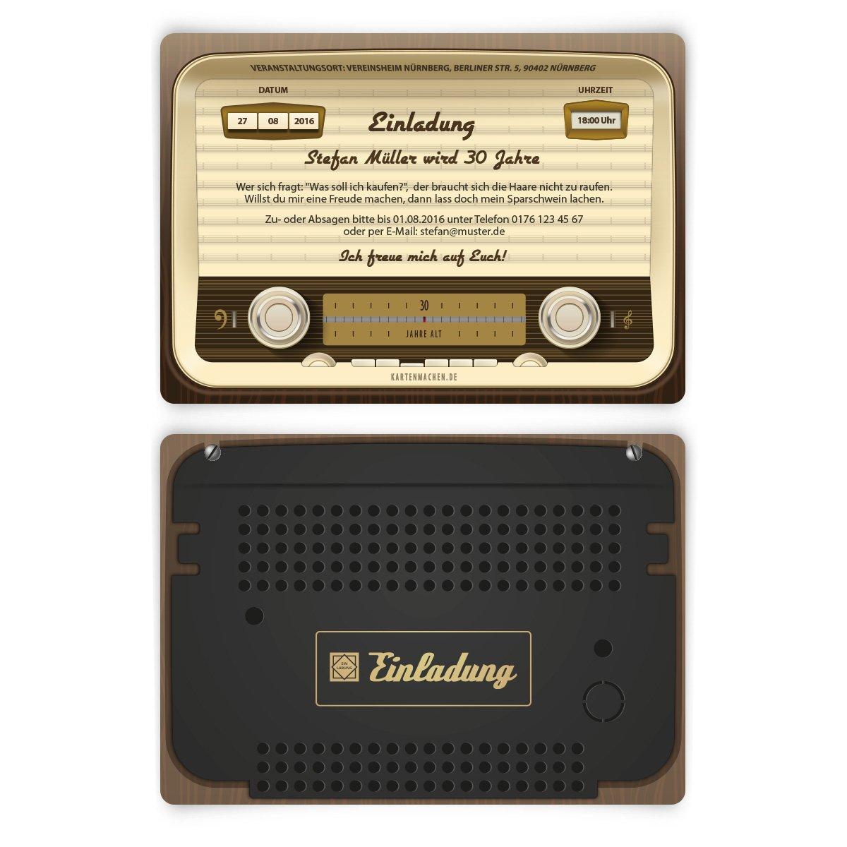Einladungen (30 Stück) Zum Geburtstag Als Altes Radio Vintage Retro 60er  Einladungskarten