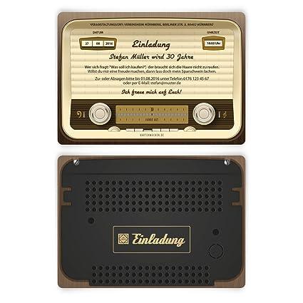 Invitaciones de cumpleaños, diseño de radio antigua, vintage, retro 30 uds. por