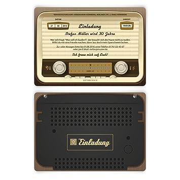 Einladungen 30 Stuck Zum Geburtstag Als Altes Radio Vintage Retro