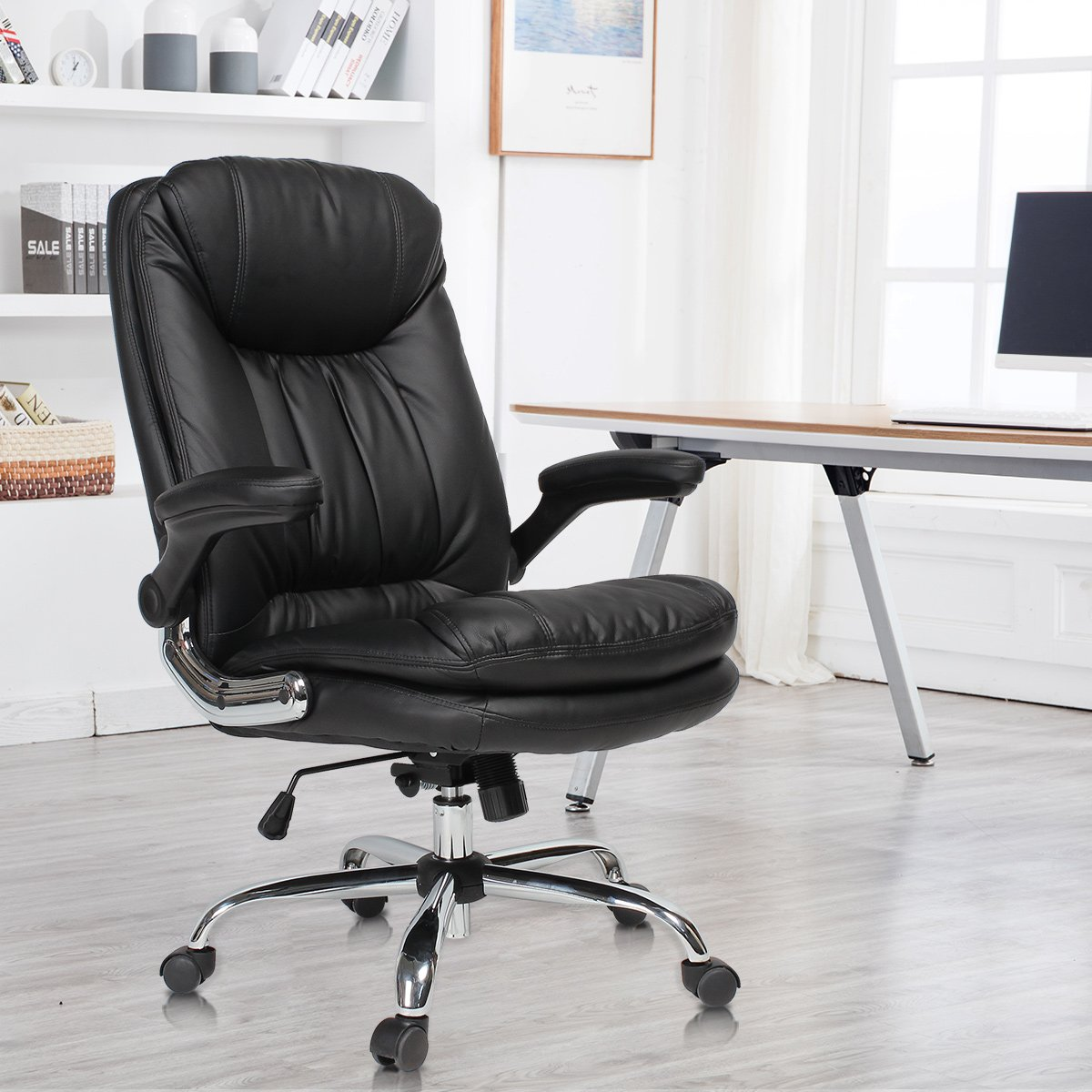 YAMASORO Ergonomic Home Office Chair with Flip-Up Arms and Comfy Headrest PU Leather High-Back Computer Desk Chair Big and Tall Capacity 330lbs Black by YAMASORO (Image #1)