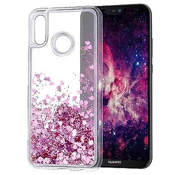 Wanxideng - Funda Huawei P20 Lite, Carcasa Transparente Suave de Silicona TPU con Corazón Purpurina Líquido, Liquid Quicksand Case Cover - Oro Rosa